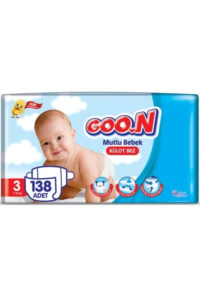 Goon Mutlu Bebek Külot Bez 3 Beden Aylık Ekonomik Paket 138 Adet