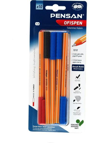 Pensan Tükenmez Kalem Ofispen 1010 Karışık 10 Lu