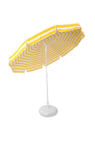Belde Şemsiye - F 200 Delüks Sarı Beyaz Plaj Şemsiyesi 2 Metre Gölgelik Alanı Katlanır Ve Eğilebilir