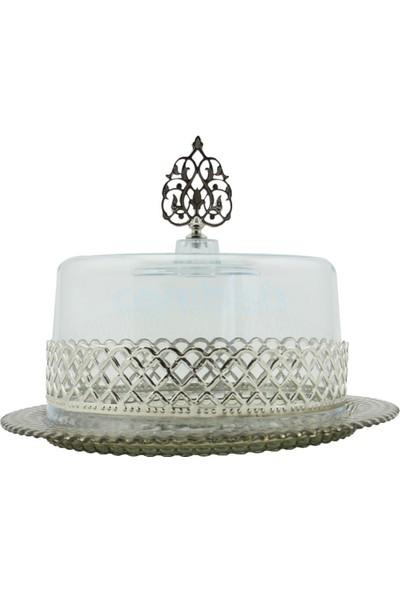 Glasscom Cam Kek Fanusu Gümüş