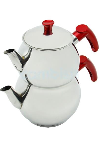 Papatya Orta Boy Çelik Çaydanlık Takımı - Kırmızı