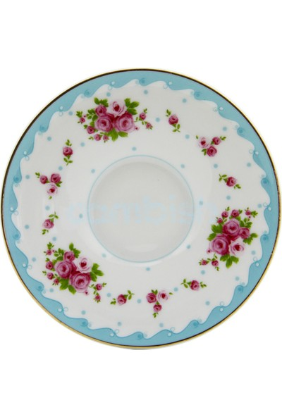 Tekbir 6'lı Desenli Porselen Çay Tabağı - Mavi Çiçek