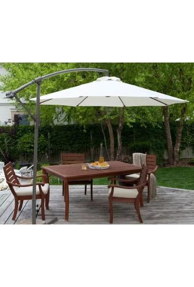 Bidesenal Bahçe Şemsiyesi Ampul Şemsiye Balkon Şemsiye 3 m Beyaz Renk Makaralı Katlanır Gölgelik