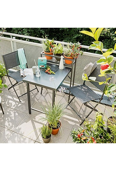 Bidesenal Metal Masa Sandalye Takımı Katlanır Raflı Katlanır Masa 3'lü Mutfak Seti Bahçe Balkon Ferforje