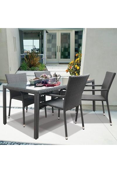 Bidesenal Örme Hasır Rattan Yemek Masa Takımı Bahçe Masa Koltuk Sandalye Seti 4 Sandalye 1 Masa
