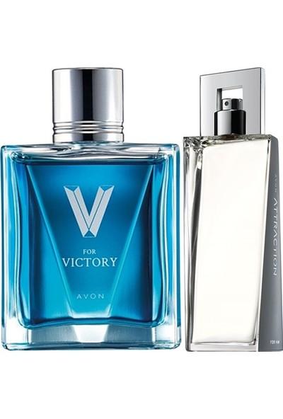 Avon Attraction 75 ml Erkek Edt+Avon V For Victory 75 ml Erkek Edt