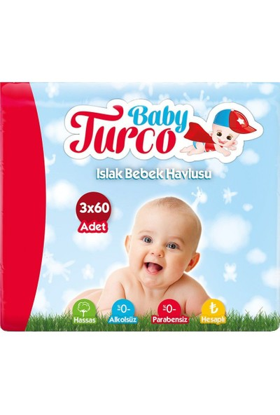 Baby Turco Islak Havlu 3 x 60 Adet