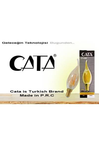 Cata CT-4281 4W E14 Rustik LED Dekoratif Kıvrık Buji Ampul 10'lu