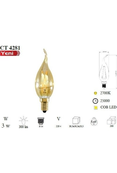 Cata CT-4281 4W E14 Rustik LED Dekoratif Kıvrık Buji Ampul 4'lü
