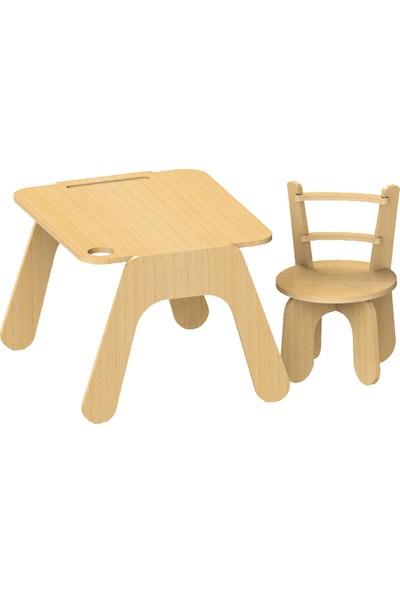 Harman Minik Doğal Ahşap Çocuk Aktivite ve Oyun Masa ve Sandalye Takımı