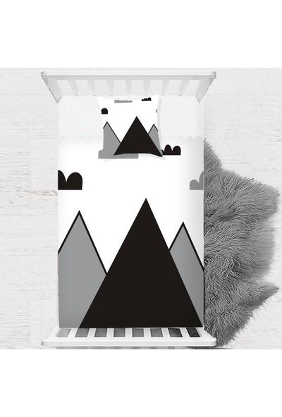 Else Siyah Gri Beyaz Dağlar Iskandinav Çocuk Bebek Yatak Örtüsü