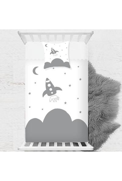 Else Uzay Gemisi Gri Beyaz Iskandinav Çocuk Bebek Yatak Örtüsü