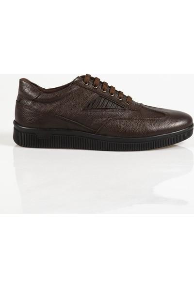 Ayakkabı Çarşı Günlük Koyu Kahve Bağcıklı Hakiki Deri Ayakkabı Cnr071