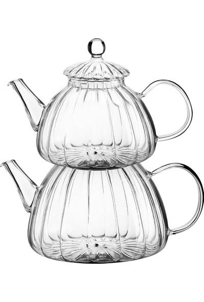 Kitchen World Isıya Dayanıklı Cam Çaydanlık Set Desen