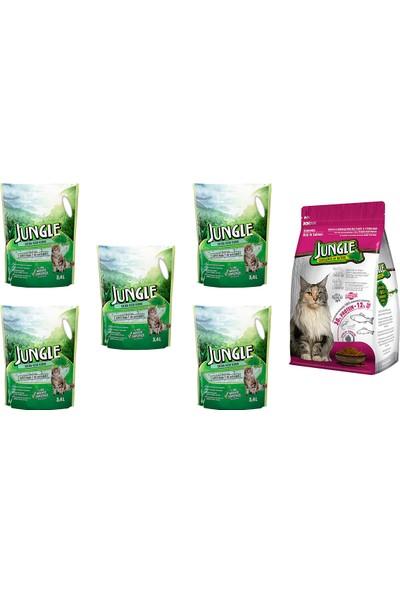 Jungle Silica Kristal Kedi Kumu 3,4 l 5 Ad. + Jungle 1,5 kg Sterilised Somonlu Kedi Maması