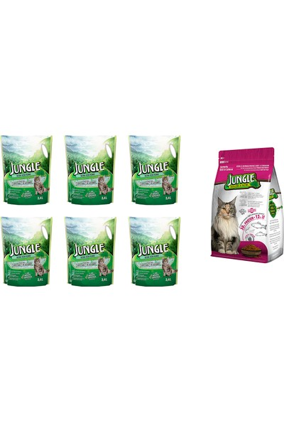 Jungle Silica Kristal Kedi Kumu 3,4 l 6 Ad. + Jungle 1,5 kg Sterilised Somonlu Kedi Maması
