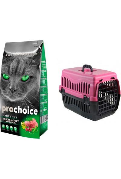 Prochoice Yetişkin Kuzulu Kedi Maması 2 kg + Pet Style Taşıma Çantası 49 cm Pembe
