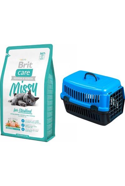Brit Care Cat Missy Sterilised Tavuklu ve Pirinçli Kısırlaştırılmış Kedi Maması 2 kg + Pet Style Taşıma Çantası 49 cm Mavi