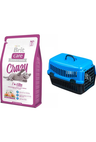 Brit Care Crazy I Am Kitten Yavru Kedi Kuru Mama 2 kg + Pet Style Taşıma Çantası 49 cm Mavi