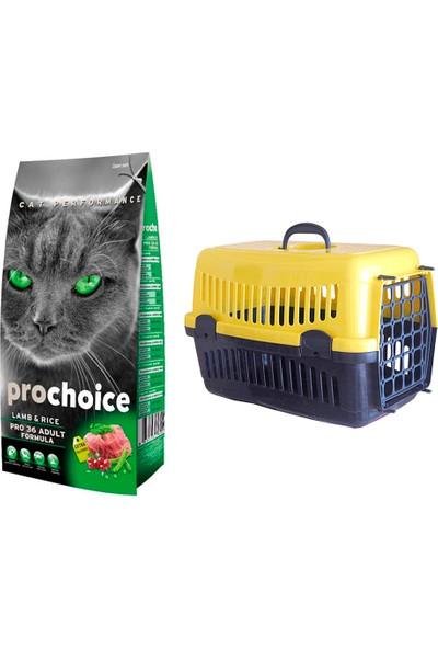 Prochoice Yetişkin Kuzulu Kedi Maması 2 kg + Pet Style Taşıma Çantası 49 cm Sarı