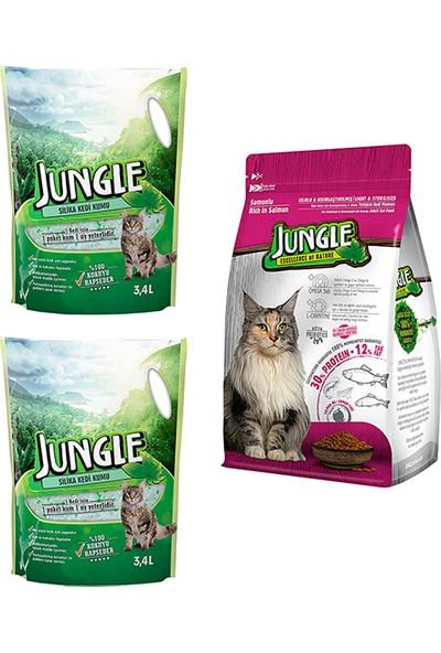 Jungle Silica Kristal Kedi Kumu 3,4 l 2 Ad. + Jungle 1,5 kg Sterilised Somonlu Kedi Maması