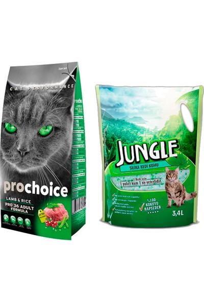 Prochoice Yetişkin Kuzulu Kedi Maması 2 kg + Jungle Silica Kristal Kedi Kumu 3.4 l