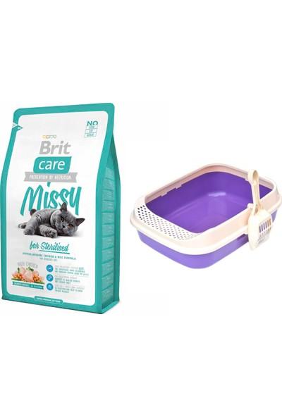 Brit Care Cat Missy Sterilised Tavuklu ve Pirinçli Kısırlaştırılmış Kedi Maması 2 kg + Lüks Krax Kedi Tuvaleti (Kürekli)