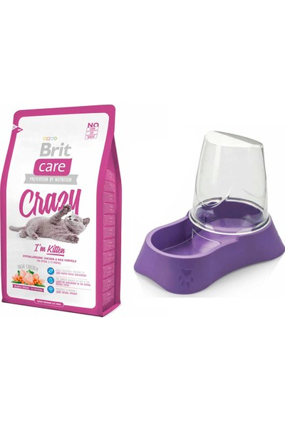 Brit Care Crazy I Am Kitten Yavru Kedi Kuru Mama 2 kg + Evohe Mama Kabı