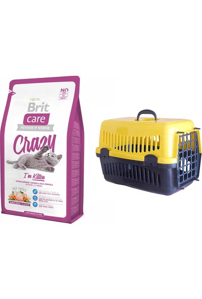 Brit Care Crazy I Am Kitten Yavru Kedi Kuru Mama 2 kg + Pet Style Taşıma Çantası 49 cm Sarı