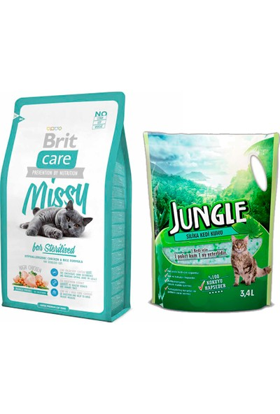 Brit Care Cat Missy Sterilised Tavuklu ve Pirinçli Kısırlaştırılmış Kedi Maması 2 kg + Jungle Silica Kristal Kedi Kumu 3,4 l