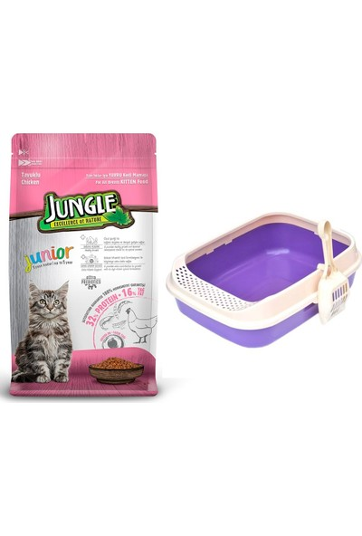 Jungle Tavuklu Yavru Kitten Kedi Maması 1,5 kg + Lüks Krax Kedi Tuvaleti