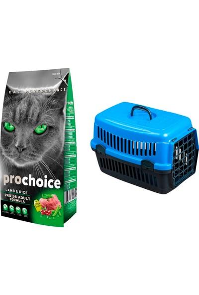 Prochoice Yetişkin Kuzulu Kedi Maması 2 kg + Pet Style Taşıma Çantası 49 cm Mavi