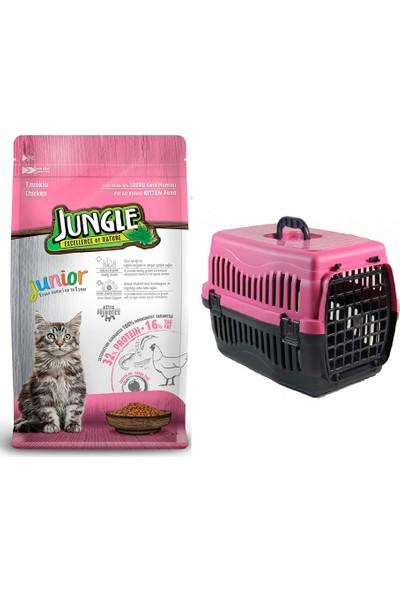 Jungle Tavuklu Yavru Kitten Kedi Maması 1,5 kg + Pet Style Taşıma Çantası 49 cm Pembe