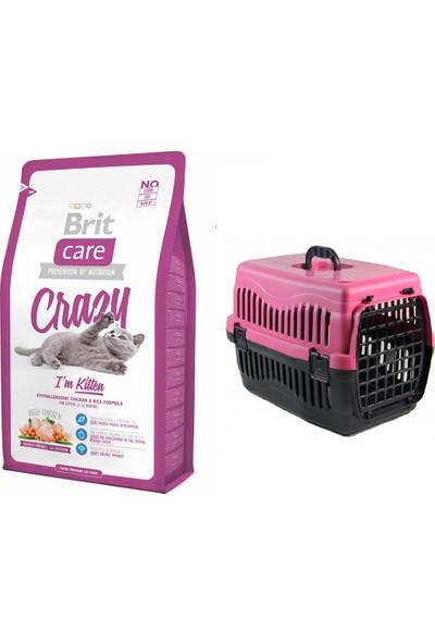 Brit Care Crazy I Am Kitten Yavru Kedi Kuru Mama 2 kg + Pet Style Taşıma Çantası 49 cm Pembe