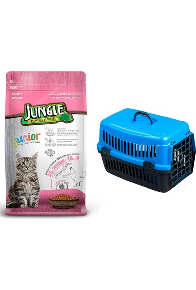 Jungle Tavuklu Yavru Kitten Kedi Maması 1,5 kg + Pet Style Taşıma Çantası 49 cm Mavi