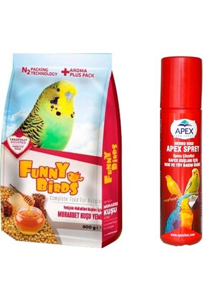 Funny Birds Meyveli Vitaminli Muhabbet Kuşu Yemi 500 g + Apex Deri ve Tüy Bakım Spreyi