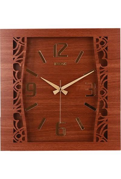Kumsar Ahşap Kare Motifli Duvar Saati 40 x 40 cm Kahverengi