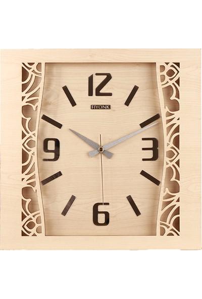 Kumsar Ahşap Kare Motifli Duvar Saati 40 x 40 cm Krem