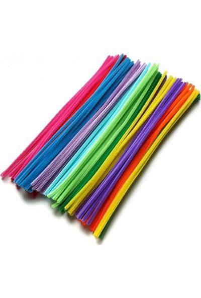 Hobialem Şönil Seti 300 Adet Renkli Tüylü Peluş Tel Çubuklar