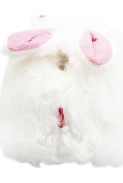 Muya 96207-3314 Hayvan Figürlü Peluş Kadın Panduf Beyaz