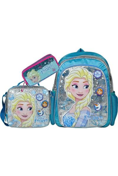 Frozen Elsa Okul Çantası Seti 3 Parça Simli Lisanslı