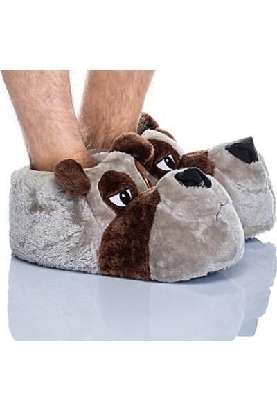 Twigy Kakao Nn0430 Erkek Panduf Ev Ayakkabısı Hayvanlı Peluş