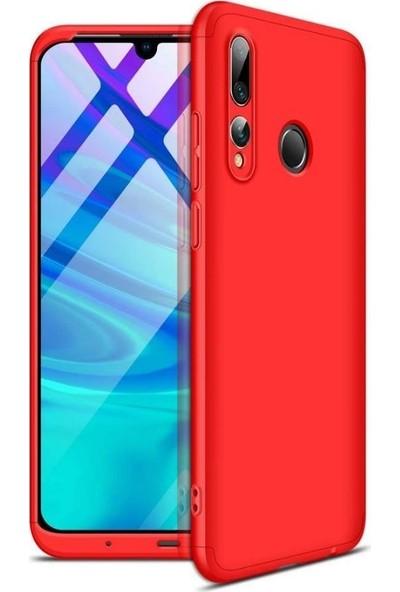 KNY Huawei Y9 Prime 2019 Kılıf 3 Parça 360 Ays Kapak Kırmızı + Cam Ekran Koruyucu