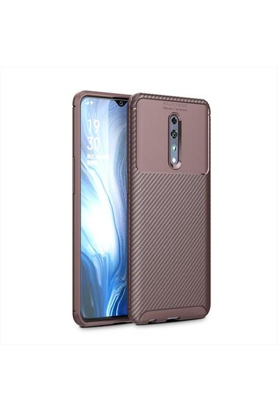 KNY OPPO Reno Z Kılıf Karbon Desenli Lux Negro Silikon Kahverengi + Nano Cam Ekran Koruyucu