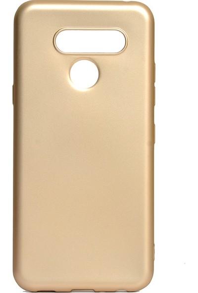 HappyShop LG Q60 Kılıf Ultra İnce Mat Silikon Gold + Nano Cam Ekran Koruyucu