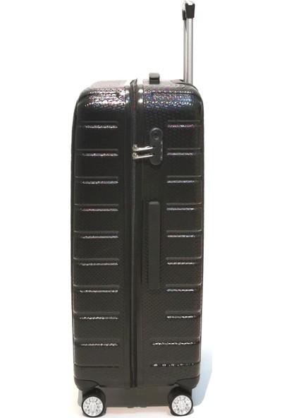 Ehs Büyük Boy Valiz 4 Tekerlekli Siyah Valiz 5162