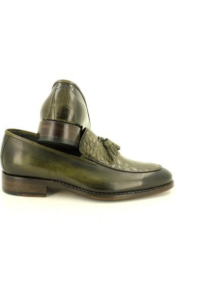 Galeriva by Murat Erbaş Deri Yeşil Goodyear Welt Taban Loafer Klasik Ayakkabı