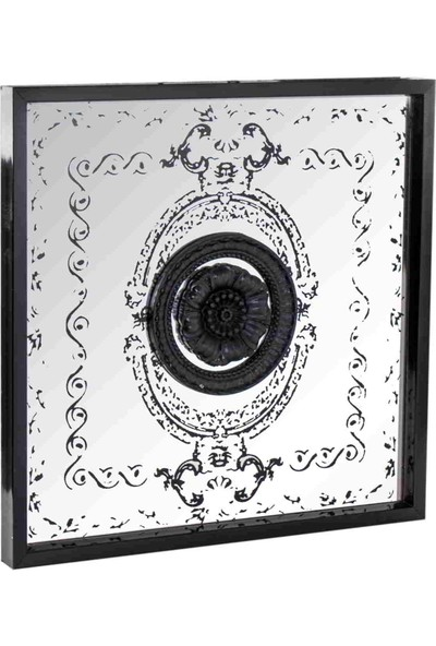 Euro Flora Dekoratif Siyah Dekorlu Ayna 50 x 50 cm