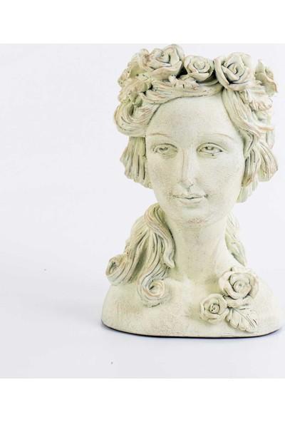Euro Flora Krem Rengi Eskitme Büst Çiçeklik Hera 24 x 22 x 36 cm
