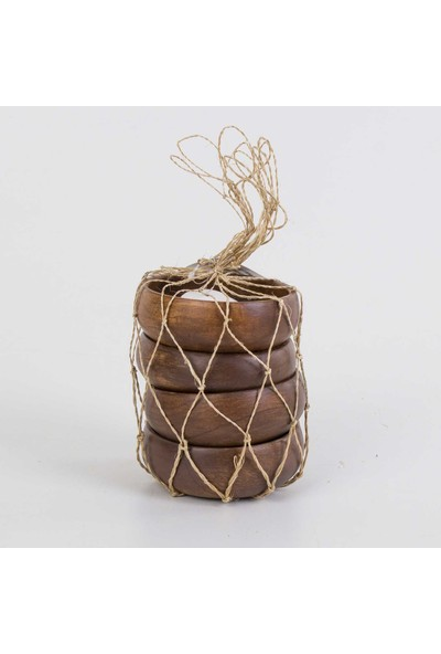Euro Flora Yuvarlak Bambu Kase 4'lü Paket 10 x 4 cm